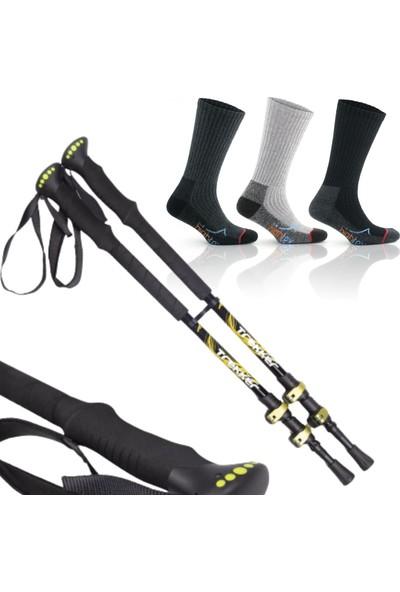 On My Way Trekker Quick-Lock Dıştan Kilitli Trekking Batonu ve ve 3 Çift 42-44 Trekking Çorabı