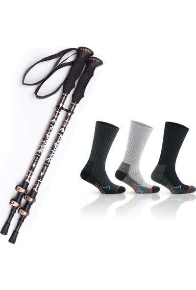 On My Way Evolite Golden Quick-Lock Dıştan Kilitli Trekking Batonu ve 3 Çift 39-41 Trekking Çorabı