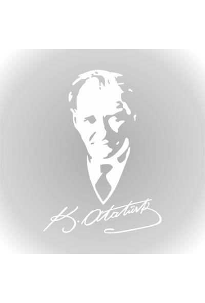 Quart Mustafa Kemal Atatürk Sticker Silüet Oto Sticker Araba Sticker