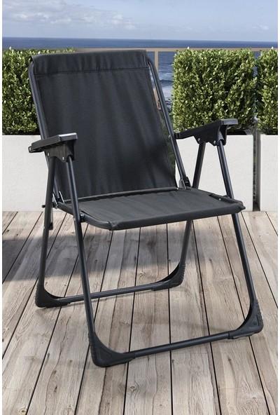 Leva Lüks Katlanır Sandalye Metal Ayaklı Siyah