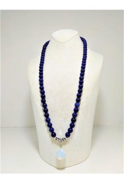 Zirve Hediyelik Lapis Lazuli ve Aytaşı Taşı Birlikte Kolye 8 mm