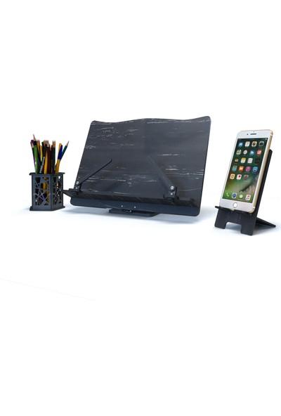 Yeni Tasarım Kitap Okuma Standı Tablet Tutucu - Telefon Standı - Kalemlik- 3 Sett