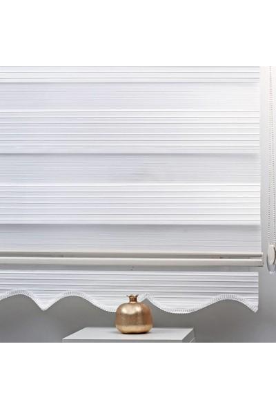 Babacan Brillant Pliseli Beyaz Etek Dilimli 50 x 200 cm