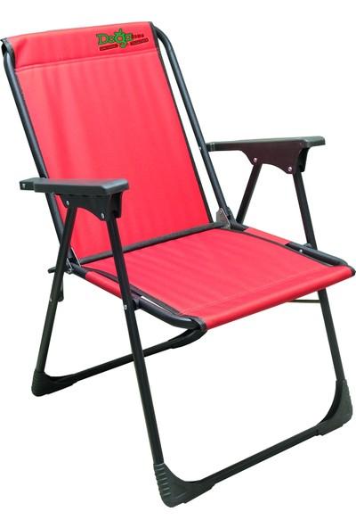 Leva Dogahomes Lüks Katlanır Kamp,plaj,piknik Sandalyesi-Kırmızı