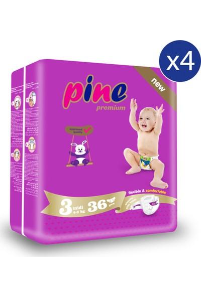 Pine Midi (4-9 kg ) Ikiz Paket 144 Adet Bebek Bezi