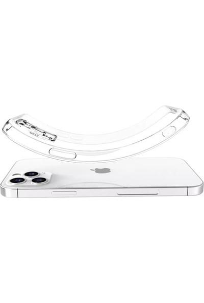 CepStok Apple iPhone 12 Pro Kılıf Şeffaf 3D Kamera Lens Korumalı Tıpalı Şarj Korumalı Silikon