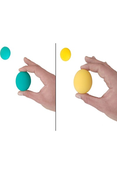 Raj 2li Set 2 Renk Silikon Stres Topu El Egzersiz Topu Fizik Tedavi Topu El Bilek Parmak Güçlendirme Top Yeşil-Sarı
