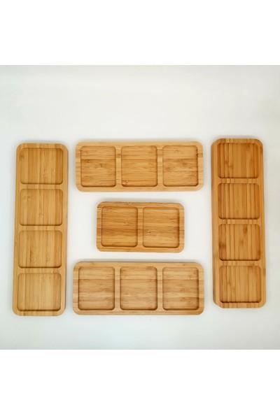 Yz Home 5 Parça Bambu Kahvaltı Seti Sunumluk Servis Kare Tabak Bölmeli