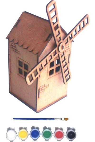 Joy And Toys 3d Puzzle Ahşap Yel Değirmeni Boyama Seti Hobi 10 x 10,5 x 24 cm