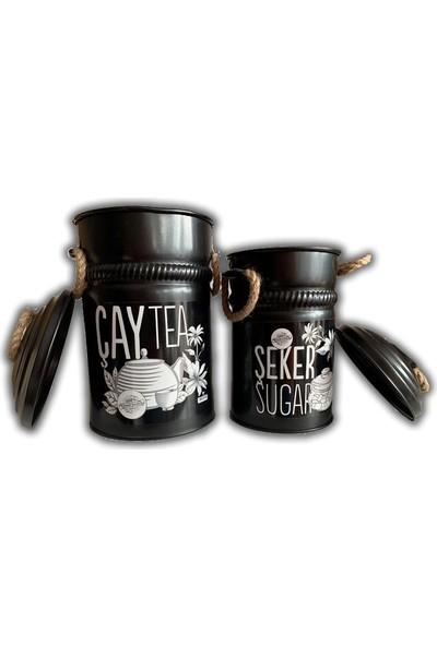 Yıldıray Metal Çay ve Şeker Saklama Kabı Siyah