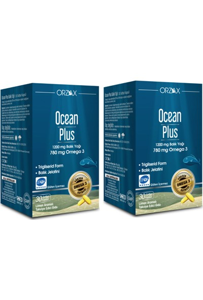 Orzax Omega 3 1200 Mg 30 Kapsül - Limon Aromalı Balık Yağı x 2 Adet