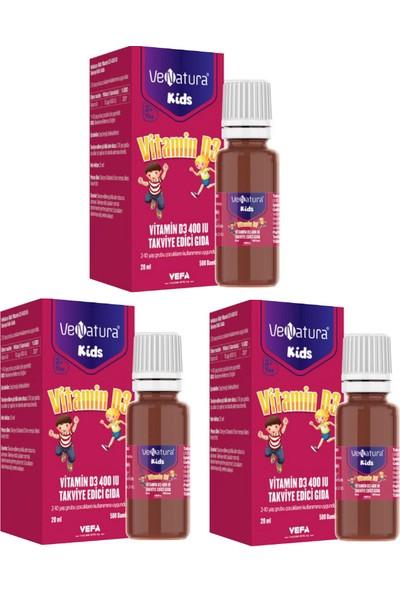 Venatura 2-10 Yaş Grubu Çocuklar Için D3 Vitamini 400 Iu 20 ml Damla x 3 Adet
