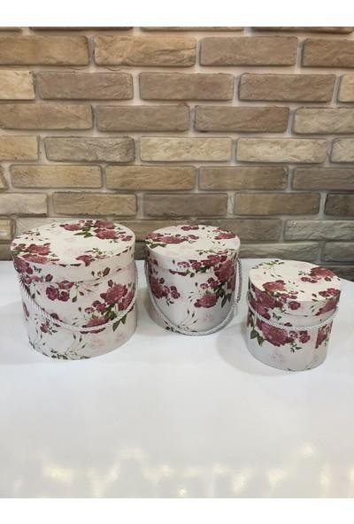 NG Çiçekçilik 3'lü Silindir Kutu Çiçek Desenli Iç Içe Girebilen Hediye Kutusu