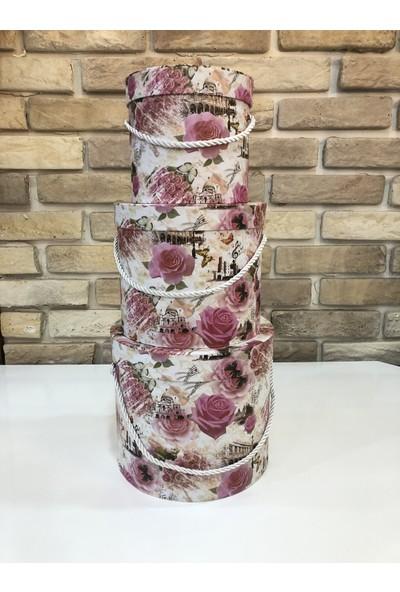 NG Çiçekçilik 3'lü Silindir Kutu Çiçek Desenli Iç Içe Girebilen Hediye Kutusu (19X17X17 - 17X14X14 - 13X13X13 Cm) Model 2