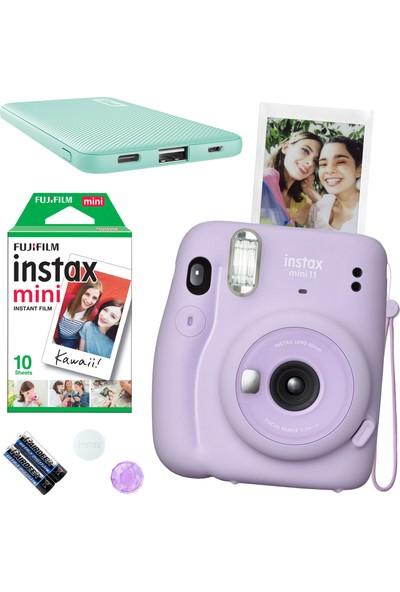 Fujifilm Instax Mini 11 Lila Fotoğraf Makinesi 10'lu Film ve Teal Powerbank