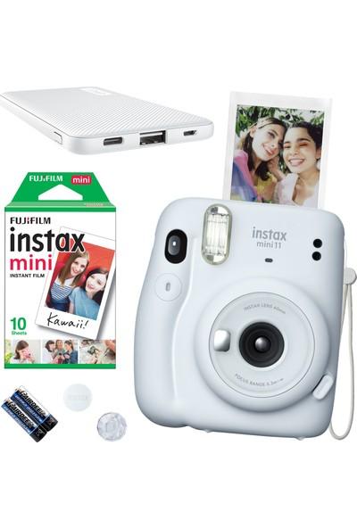 Fujifilm Instax Mini 11 Beyaz Fotoğraf Makinesi 10'lu Film ve Beyaz Powerbank