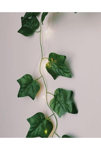 Anka Feniks Dekoratif Yeşil Yapraklı Yapay Sarmaşık Gün Işığı (Sıcak Sarı) LED Işık, 2,3 mt 30 LED 1 Adet