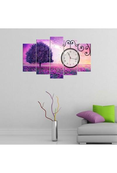 PR Dekoratif Mor Ağaç 5 Parçalı Saatli Dekoratif Tablo