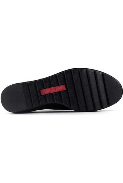 Forelli 29210 Anatomik Hakiki Deri Kadın Ayakkabı-Siyah