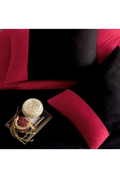 Cotton Touch Plain Siyah Kırmızı Ranforce Çift Kişilik Nevresim Takımı