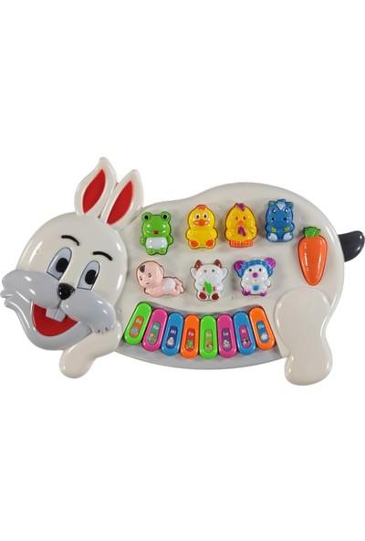 Can Oyuncak Tavşanlı Işıklı ve Sesli Piyano Beyaz 4 Fonksiyonlu
