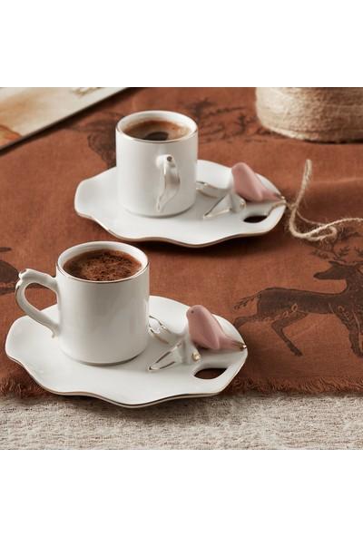 Karaca Lucca Birds 2 Kişilik Kahve Fincan Takımı Pembe