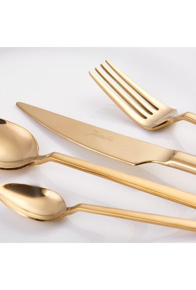 Jumbo 1800 24 Parça 6 Kişilik Titanyum Gold Tatlı Çatal Kaşık Bıçak Seti