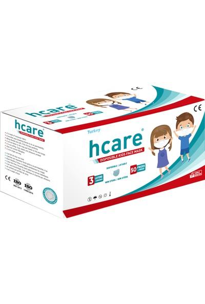 Hcare - Type Iır - 3 Katlı Renkli Cerrahi Çocuk Maskesi 50'li