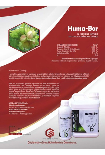 Gns Huma Bor Sıvı Bor Elementli Organomineral Humik Asit 1 lt