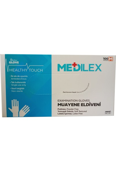 Medilex Pudrasız Mavi Eldiven 100'lü Medium