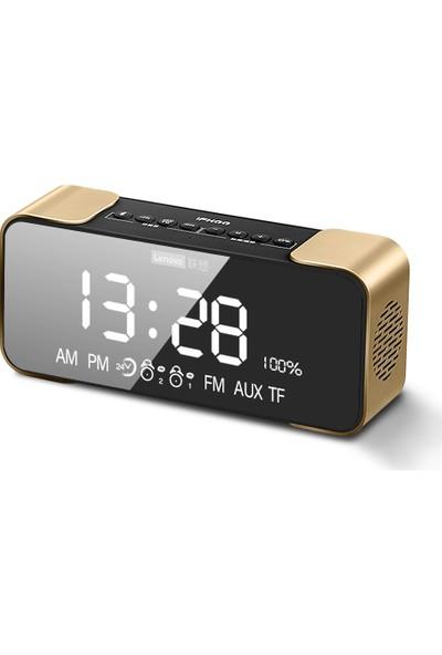 Lenovo L022 Kablosuz Bluetooth Hoparlör LED Ayna Çift Alarm Saat Fm Radyo - Altın (Yurt Dışından)