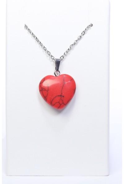 Arı Onyx Kalp Kırmızı Mercan Taşı Doğal Taş Kolye
