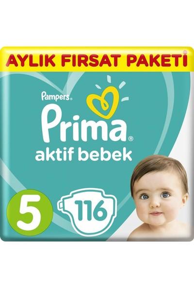 Prima Bebek Bezi Aktif Bebek 5 Beden Aylık Fırsat Paketi 116'LI