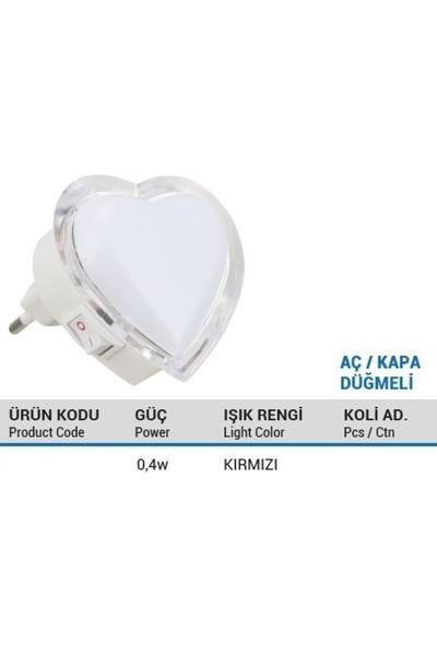 YCL Kırmızı Renkli Kalp Gece Lambası 0,4W LED Fişli