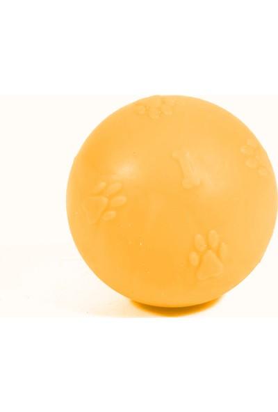 Kardelen Termoplastik Pati Desenli Sert Köpek Oyun Topu 7 cm Sarı