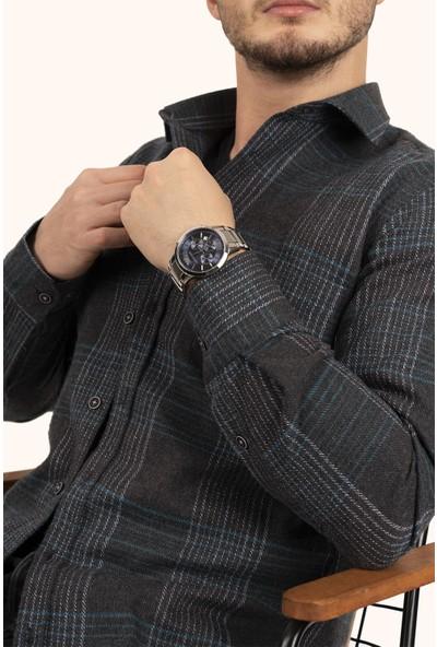 Etikmen Erkek Açık Siyah Yeşil Çizgili Kışlık Oduncu Gömlek