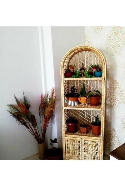 Dekoratif 4 Bölmeli Bambu Mutfak Banyo Kitaplık Çiçeklik Hasır Raf