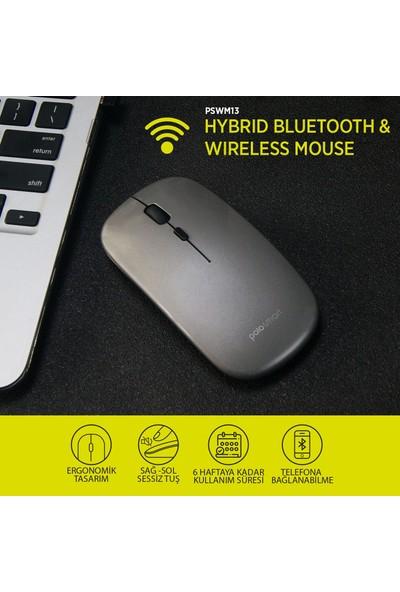 Polosmart PSWM13 Hybrid Bluetooth & Wireless Şarj Edilebilir Mouse Siyah