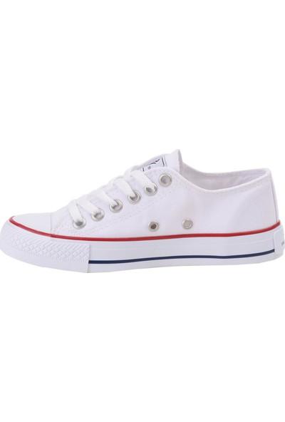 Mp 211-1842 Beyaz Keten Bayan Kanvas Spor Ayakkabı