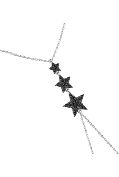 İndigo Takı Siyah Taşlı Süzülen Yıldız Beyaz Gümüş Şahmeran