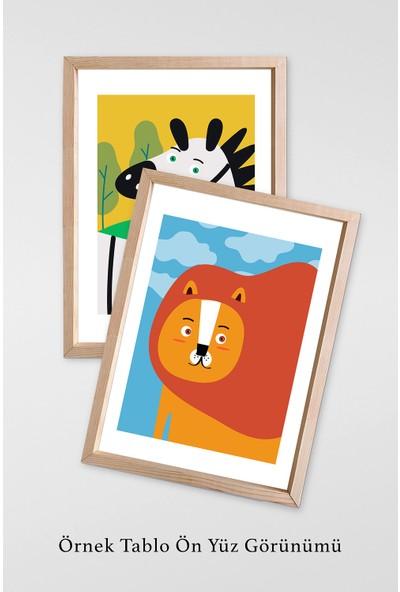 Magazacım Çocuk ve Genç Odası Duvar Dekoru Hayvan Temalı Üç Parça Ahşap Çerçeve Mdf Tablo Seti GW1049