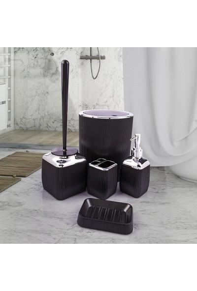 Okyanus Siyah Banyo Seti / Çizgili Siyah Banyo Takımı / 5'li Banyo Seti Çizgili / Okyanus Çizgili Banyo Seti