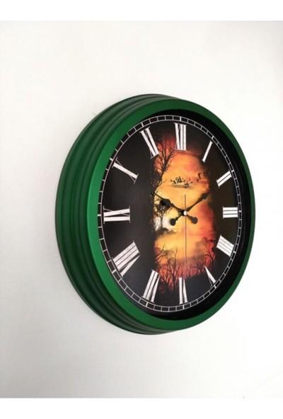 Bahat Salon Ofis Duvar Saati Yeşil-siyah Alüminyum Çerçeve 40 cm Camlı