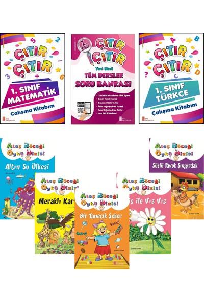 Ata Yayıncılık 1.Sınıf Çıtır Çıtır Çalışma Kitabım 3'lü Set + Rengarenk 5'li Hikaye Seti