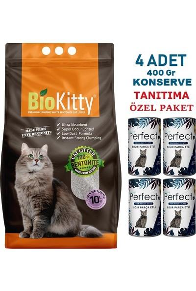 Biokitty 10 Lt Biokitty Lavanta Kokulu Kedi Kumu & 4 Adet Konserve