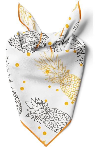 Kadın Ananas Desenli Bandana 50X50 Sarı DG0168-22