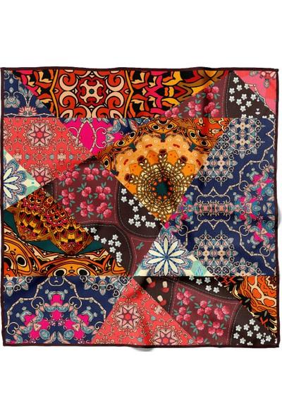Moda Butik Kadın Etnik Desenli Bandana 50X50 Mavi DG0379-22