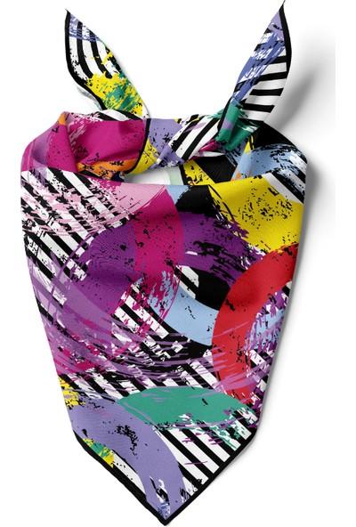 Moda Butik Kadın Grafiti Desenli Bandana 50X50 Siyah DG0186-2