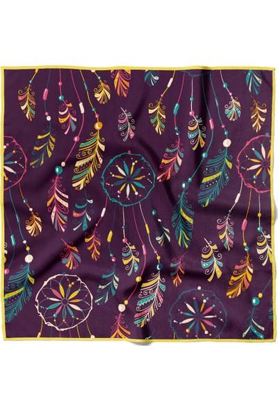 Moda Butik Kadın Yaprak Desenli Bandana 50X50 Yeşil DG0332-22