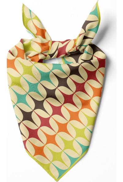 Moda Butik Kadın Yıldız Desenli Bandana 50X50 Yeşil DG0107-22